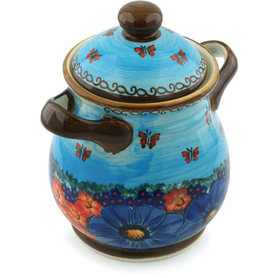 "Polish Pottery Jar with Lid and Handles 8"" Field Of Butterflies UNIKAT"