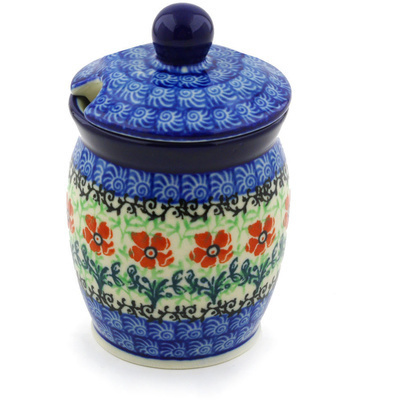 "Polish Pottery Jar with Lid with Opening 4"" Maraschino"