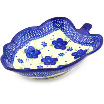 "Polish Pottery Leaf Shaped Bowl 8"" Bleu-belle Fleur"