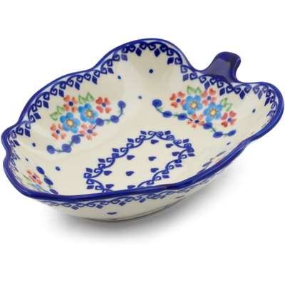 "Polish Pottery Leaf Shaped Bowl 8"" Hearts And Flowers"