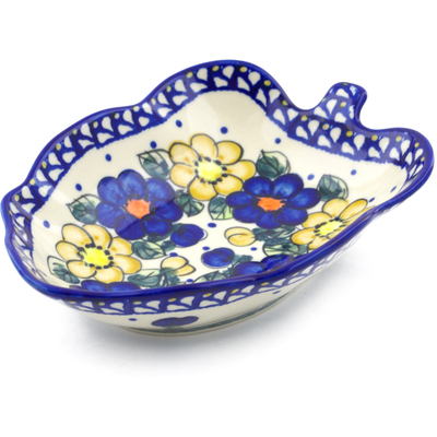 "Polish Pottery Leaf Shaped Bowl 8"" Pansy Circle"