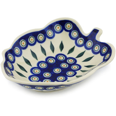 "Polish Pottery Leaf Shaped Bowl 8"" Peacock"