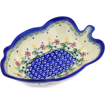 "Polish Pottery Leaf Shaped Bowl 8"" Spring Flowers"