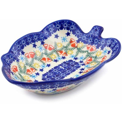 "Polish Pottery Leaf Shaped Bowl 8"" Wreath Of Bealls"