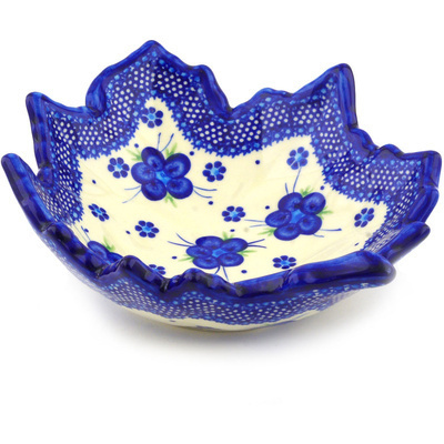"Polish Pottery Leaf Shaped Bowl 9"" Bleu-belle Fleur"
