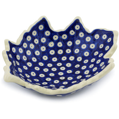 "Polish Pottery Leaf Shaped Bowl 9"" Blue Eyed Peacock"