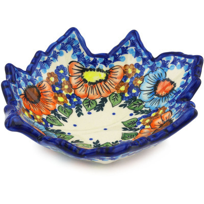 "Polish Pottery Leaf Shaped Bowl 9"" Bold Poppies UNIKAT"