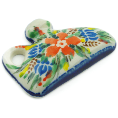 "Polish Pottery Magnet 2"" Blue Ribbon Bouquet UNIKAT"