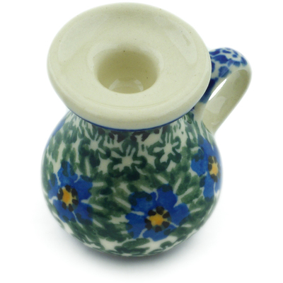 "Polish Pottery Mini Candle Holder 2"" Blue Daisy Dream UNIKAT"