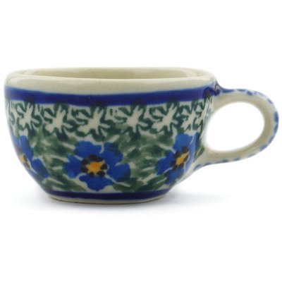 "Polish Pottery Mini Cup 2"" Blue Daisy Dream UNIKAT"