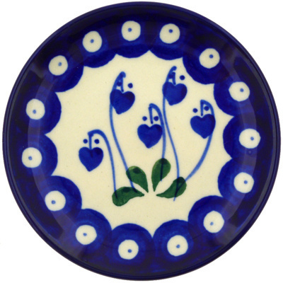 Polish Pottery Mini Plate Bleeding Heart Peacock