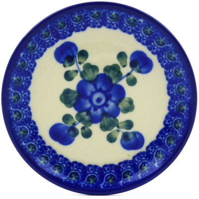 Polish Pottery Mini Plate Blue Poppies