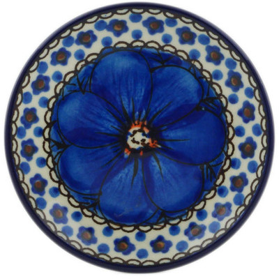 Polish Pottery Mini Plate Cobalt Poppies UNIKAT