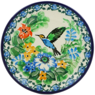 Polish Pottery Mini Plate Hummingbird Meadow UNIKAT