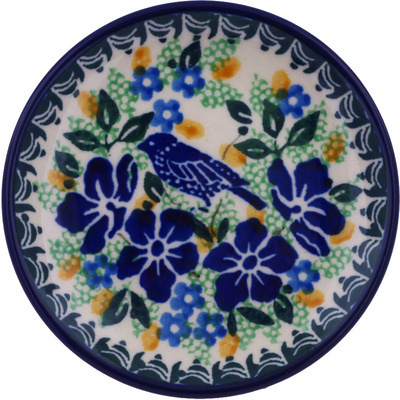 Polish Pottery Mini Plate Sitting Blue Birds UNIKAT