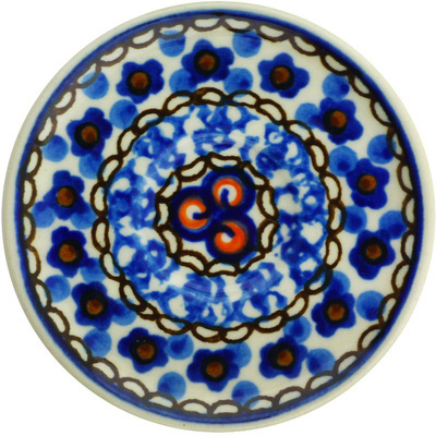 "Polish Pottery Mini Saucer 3"" Cobalt Poppies UNIKAT"