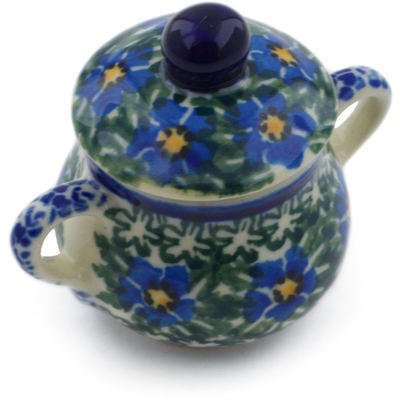 "Polish Pottery Mini Sugar Bowl 2"" Blue Daisy Dream UNIKAT"