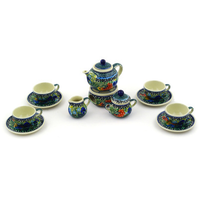 "Polish Pottery Miniature Tea Set 3"" Butterfly Garden UNIKAT"