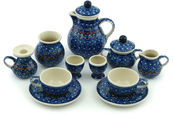 This Polish Pottery miniature tea set (item number H5890B) is made by Ceramika Artystyczna factory in Boleslawiec Poland. It is 3.4  high and measures 2.8  ...  sc 1 st  Polmedia Polish Pottery & Miniature Tea Set 3