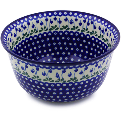 Polish Pottery Mixing Bowl 12-inch (8 quarts) Bleeding Heart Peacock