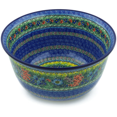 Polish Pottery Mixing Bowl 12-inch (8 quarts) Splendid Meadow UNIKAT