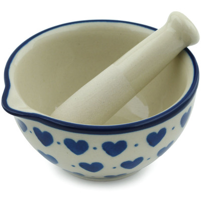Polish Pottery Mortar and Pestle Small Hearts Delight