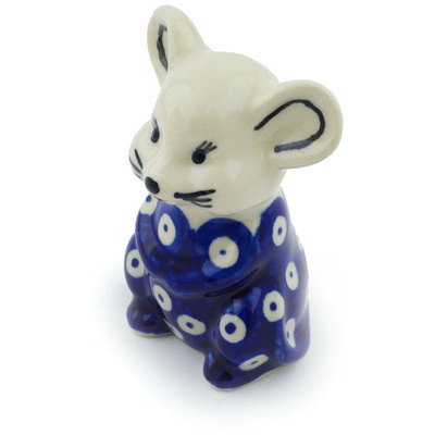 "Polish Pottery Mouse Figurine 3"" Blue Eyed Peacock"
