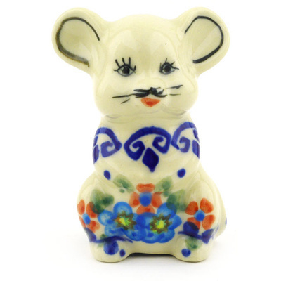 "Polish Pottery Mouse Figurine 3"" Hearts And Flowers"