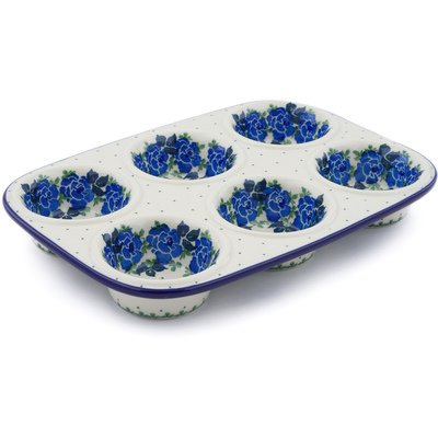 "Polish Pottery Muffin Pan 11"" Blue Garland"