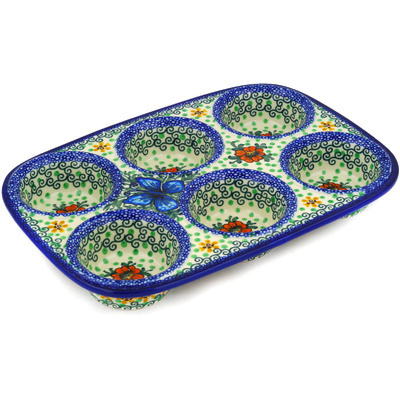 "Polish Pottery Muffin Pan 11"" Butterfly Holly UNIKAT"