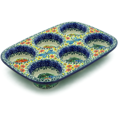 "Polish Pottery Muffin Pan 11"" Dragonfly Bounty UNIKAT"