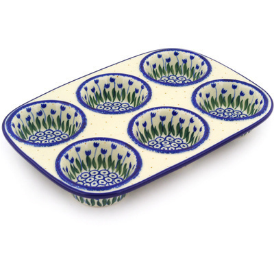 "Polish Pottery Muffin Pan 11"" Water Tulip"