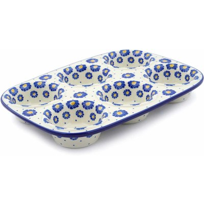 "Polish Pottery Muffin Pan 11"" Wreath Of Blue"