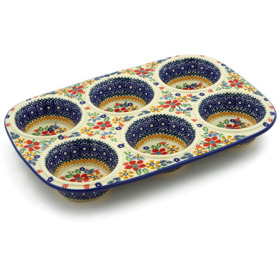 "Polish Pottery Muffin Pan 13"" Ruby Bouquet UNIKAT"