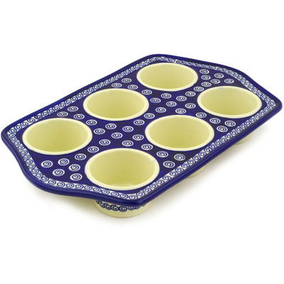 "Polish Pottery Muffin Pan 14"" Cobalt Swirl"