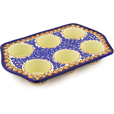 "Polish Pottery Muffin Pan 14"" Coral Diamonds UNIKAT"