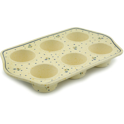 "Polish Pottery Muffin Pan 14"" Country Meadow"