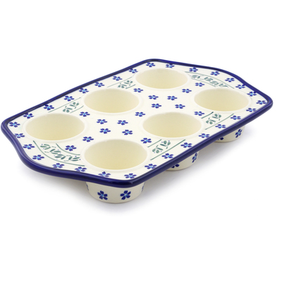 "Polish Pottery Muffin Pan 14"" Daisy Field"