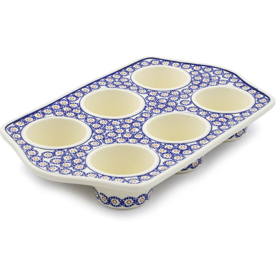 "Polish Pottery Muffin Pan 14"" Daisy Stamps"