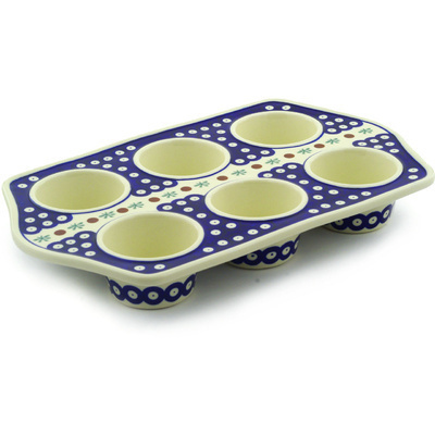 "Polish Pottery Muffin Pan 14"" Mosquito"