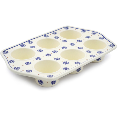 "Polish Pottery Muffin Pan 14"" Simple Daisies"