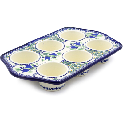 "Polish Pottery Muffin Pan 14"" Tulip Fields UNIKAT"