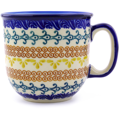 Polish Pottery Mug 10 oz Autumn Swirls