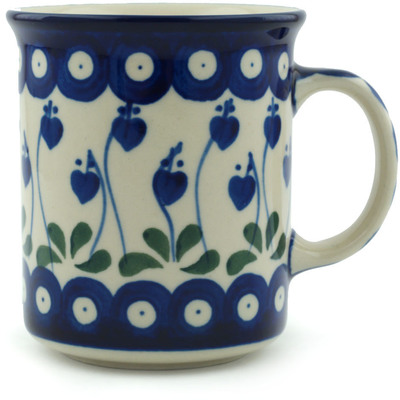 Polish Pottery Mug 10 oz Bleeding Heart Peacock
