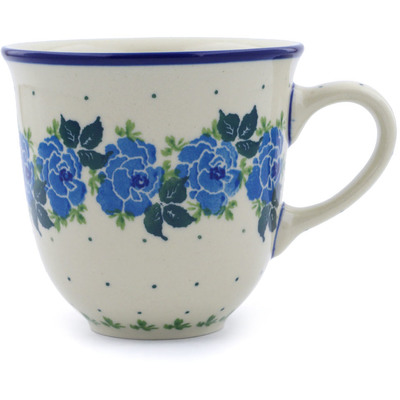 Polish Pottery Mug 10 oz Blue Garland