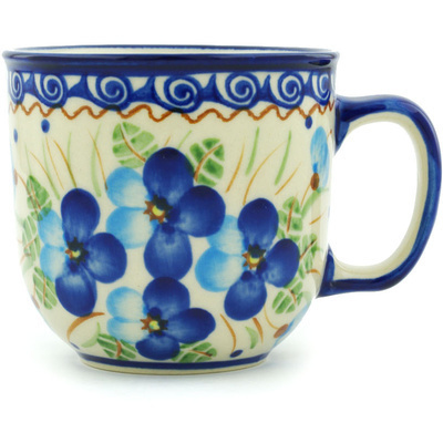 Polish Pottery Mug 10 oz Blue Pansy