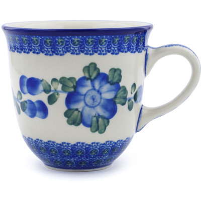 Polish Pottery Mug 10 oz Blue Poppies