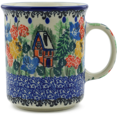 Polish Pottery Mug 10 oz Hidden Cottage UNIKAT
