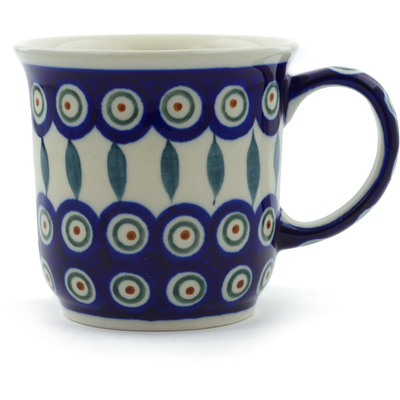 Polish Pottery Mug 10 oz Peacock Leaves