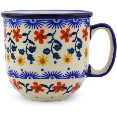 Polish Pottery Mug 10 oz Red Sunflower